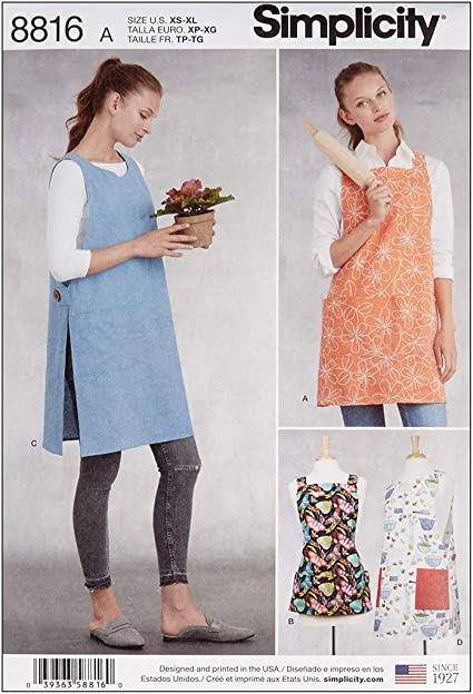 Simplicity Ladies Easy Sewing Pattern 8152 1970s Vintage Style Aprons Simpli...
