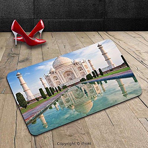 Custom Machine-washable Door Mat Asian Decor Collection Taj Mahal in Sunrise Light Agra India History Love Story Emperor Landscape Marble Image Ivory Teal Indoor/Outdoor Doormat Mat Rug Carpet