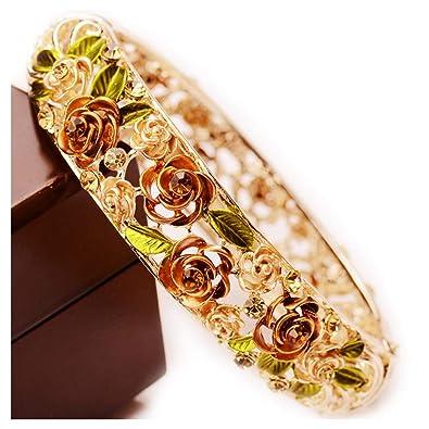 Gold Plating Vintage Flower Bracelet Bangle Crystal Beads Hand-Painted e9000fd0cc6c