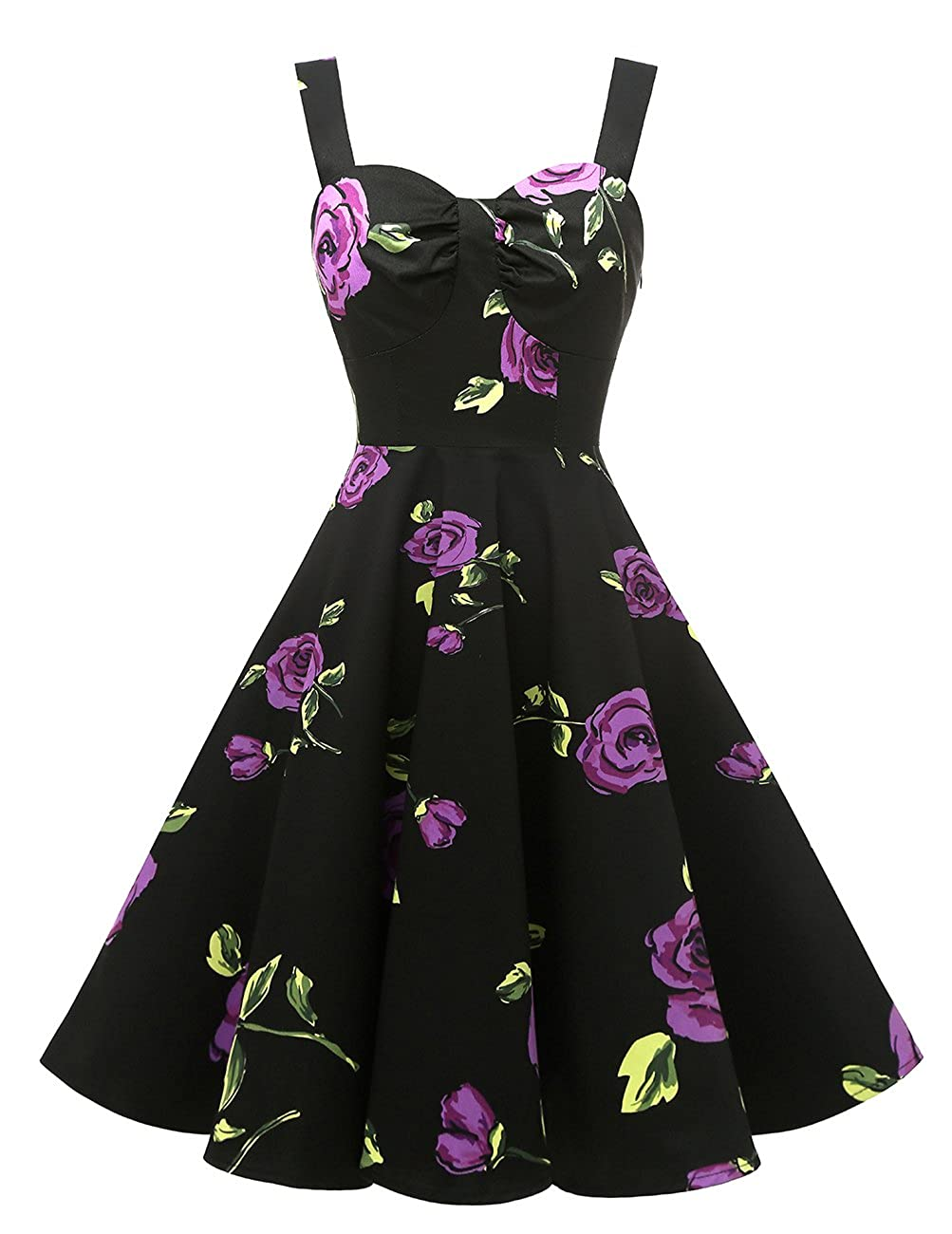 DRESSTELLS 1950s Retro Audrey Swing Pinup Rockabilly Dress Pleated Vintage Dress
