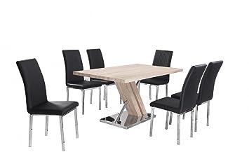 Mesa de comedor madera montesco nunchk 6 sillas negras ...