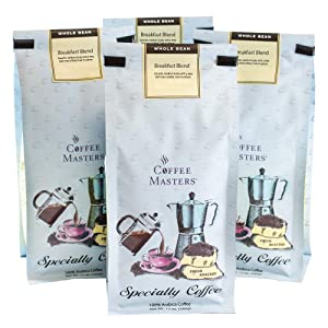 Coffee Masters Gourmet Coffee, Breakfast Blend, Whole Bean, 12-Ounce Bags (Pack of 4)
