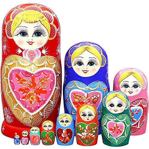 Moonmo 10pcs Beautiful Handmade Wooden Russia Nesting Dolls Gift Russian Nesting Wishing Dolls Heart Matryoshka Traditional.