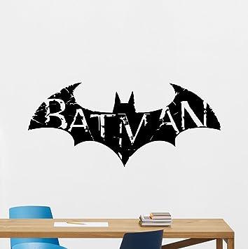 Batman Wall Decal Arkham Logo Emblem Logotype Superhero Comics Cartoon  Poster Wall Vinyl Sticker Kids Teen