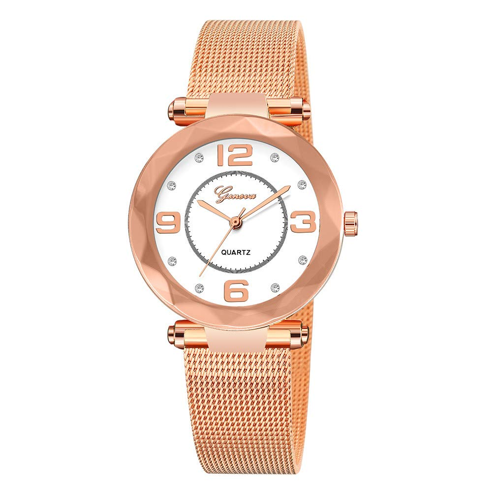 Starry Sky Watch for Women, Crystal Dial Analog Quartz Wristwtach with Buckle Mesh Steel Band Bravetoshop R6819(Rose Gold & White)
