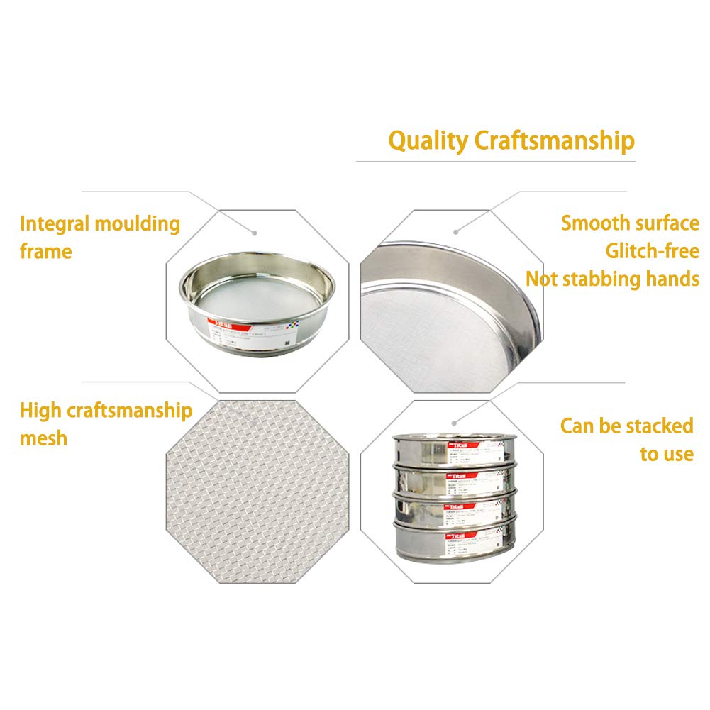 Adamas-Beta /φ10/×4.5cm 6 Mesh 304 Stainless Lab Sieves Economy Test Sieve 304 Stainless Steel Wire Cloth(4mm)