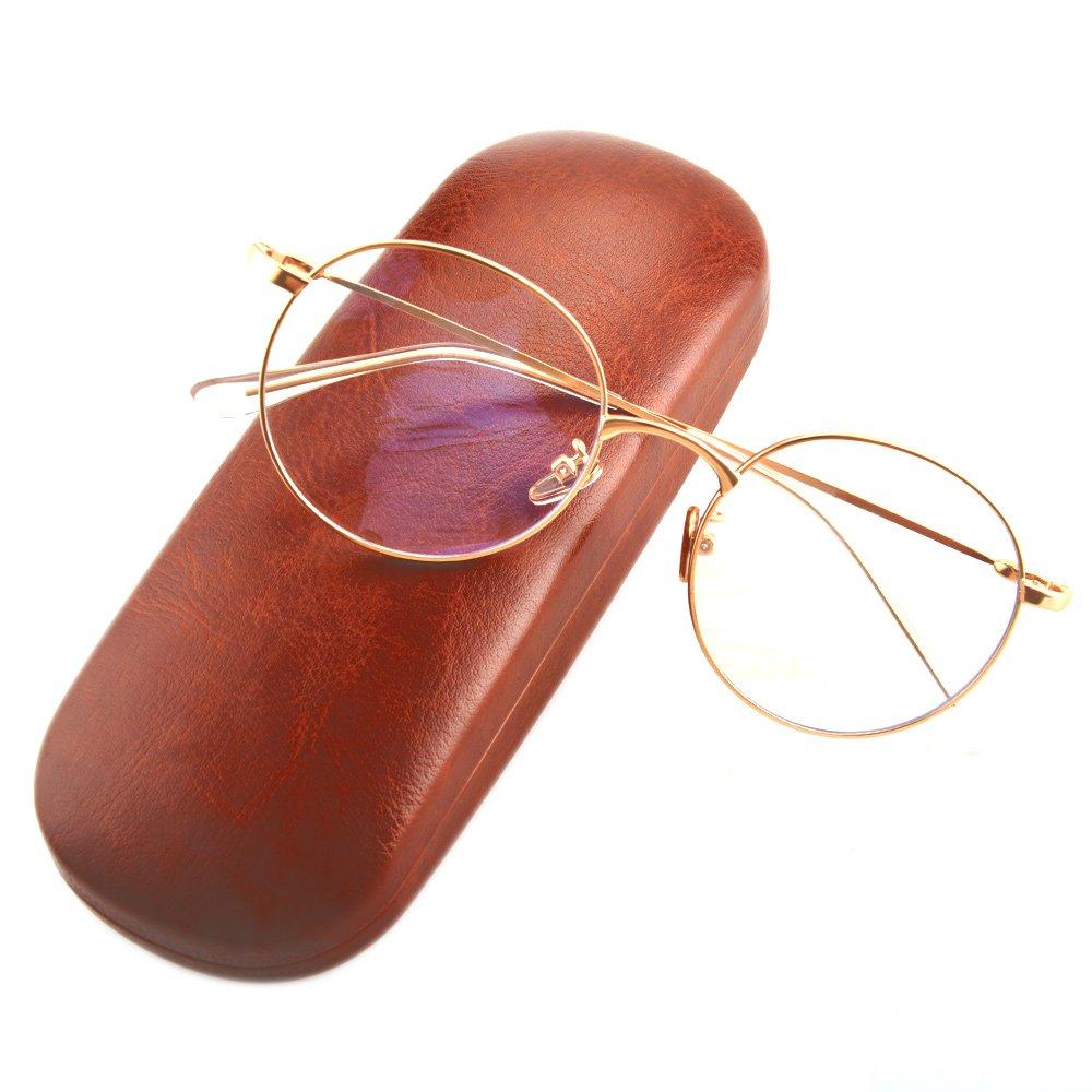 Gudzws Super Lightweight Anti Blue Light Glasses Eye Strain Relief Round Unisex