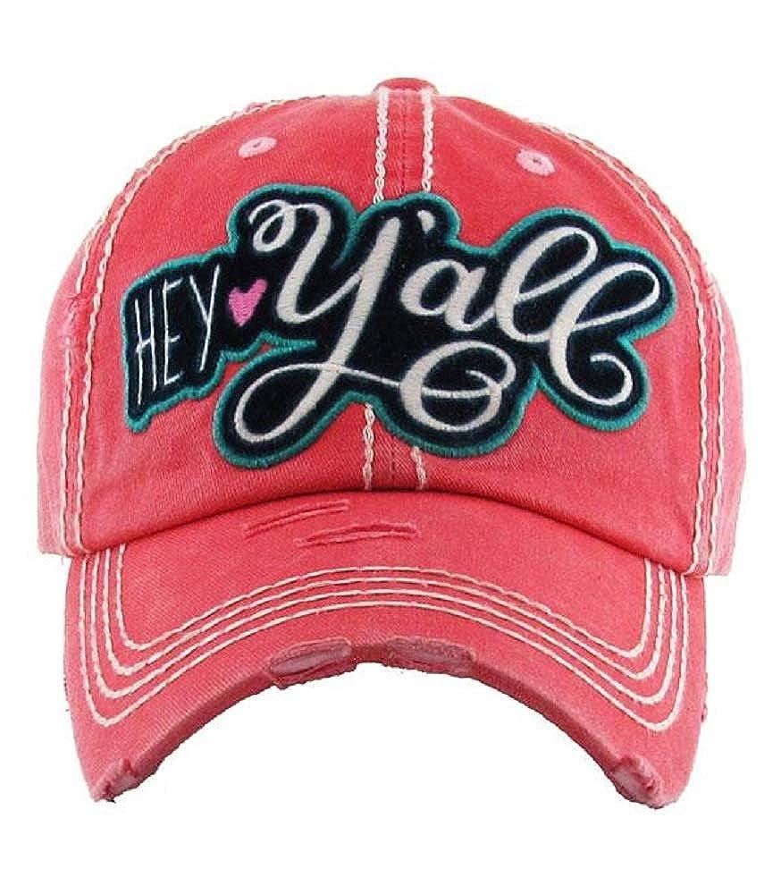 Hey Yall Coral Washed Vintage Baseball Cap.