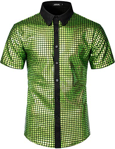 JOGAL Men's Dress Shirt Sequins Button Down Shirts 70s Disco Party Costume XX-Large A353 Green
