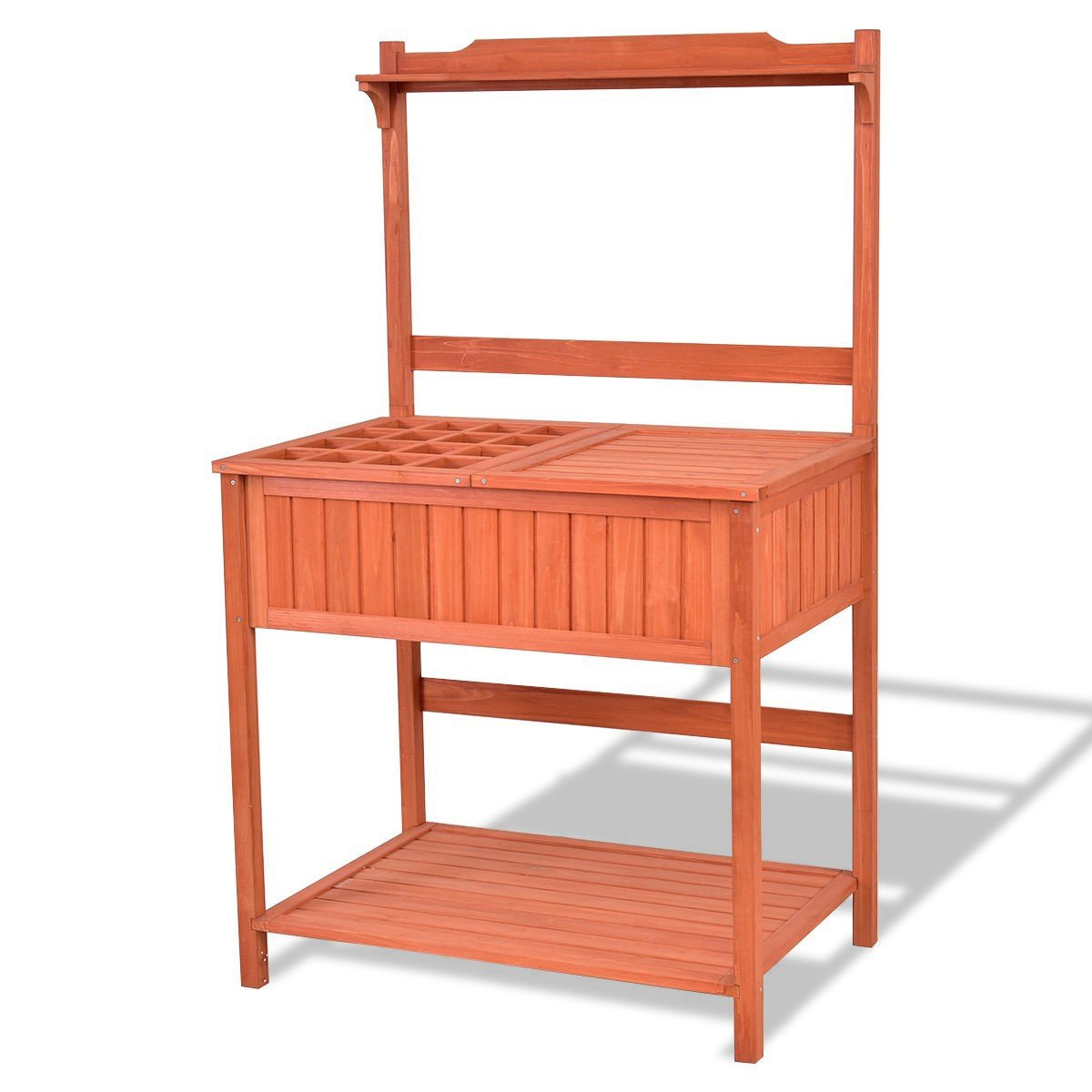 Garden Wooden Planting Potting Shelf Stand Workstation Table Outdoor Lawn Patio With Ebook