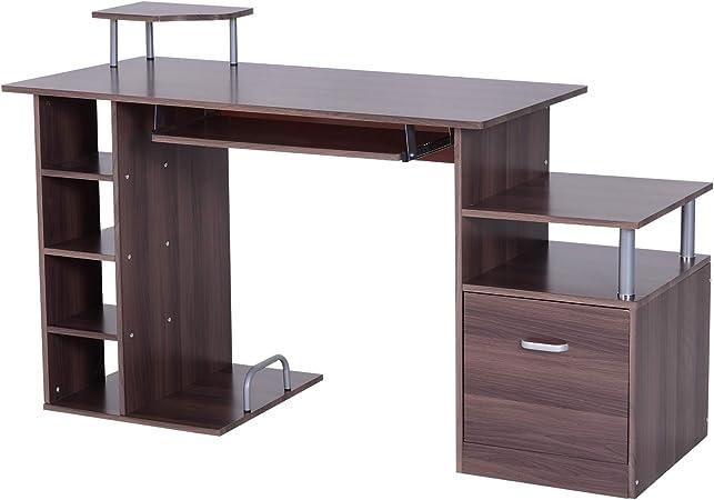 HOMCOM 2454140031 mesa pc ordenador 152x60x80cm de madera e1 mdf ...
