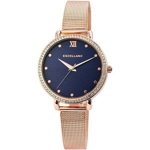 Reloj de Pulsera de Cuarzo para Mujer, diseño Plano, Marca Excelland Milanese Original, Redondo: Amazon.es: Relojes