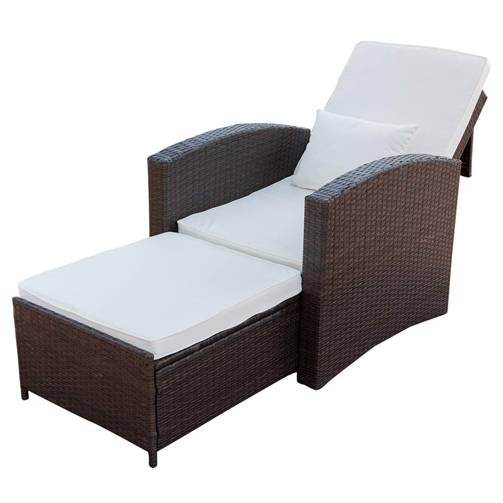 PatioPost Recliner Chair Push Back Club Outdoor Living Room Single Sofa, Padded Patio Seat Furniture by PatioPost