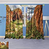 Flower Design Foil Printed Grommet Thermal Insulated Window Panels Utah Plateau Mojave Desert Southwest Erosion Navajo Artprint Brown Green for Kidsroom