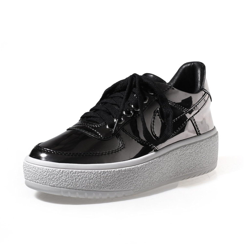 MINIVOG Women's High-gloss Flat Height Increasing Oxfords Shoes