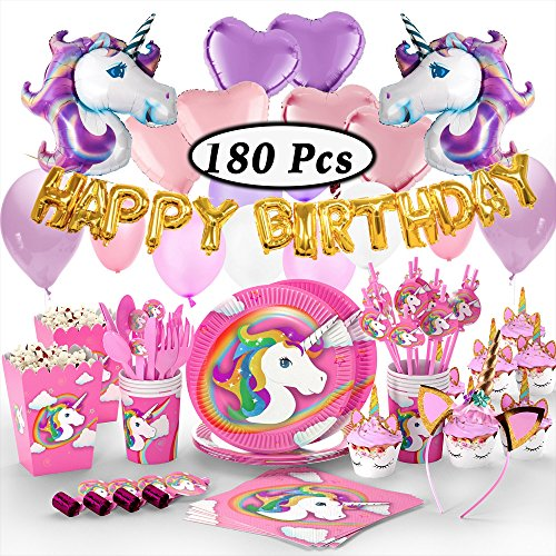 180+ PCS Complete Unicorn Party Supplies & Decorations - Glittery Unicorn Headband | Disposable Tableware Set | 30 Magical Balloons | 24 Pc Unicorn Cupcake Wrappers & Toppers | Party Favors by FETTI FETTI