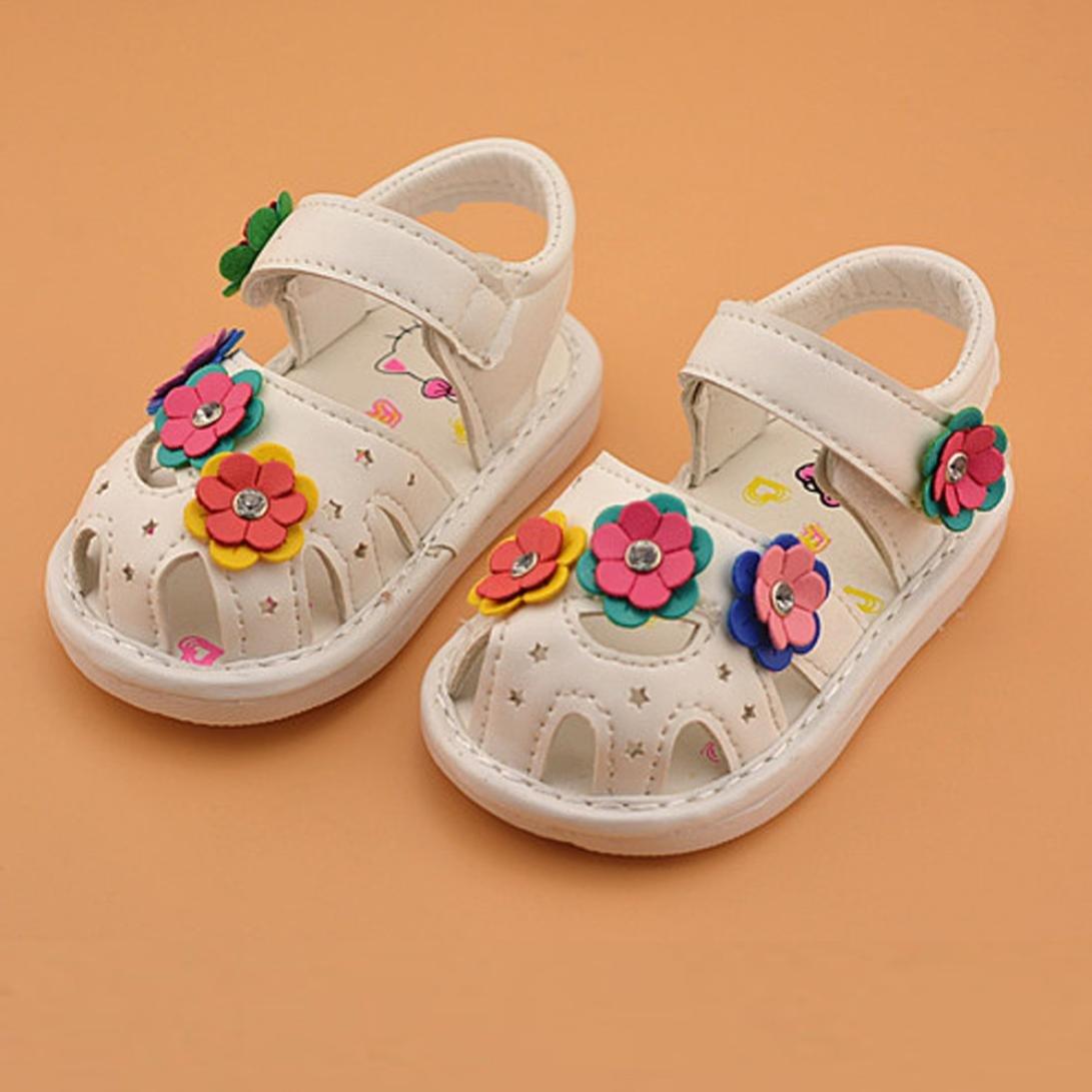 Voberry Summer Kids Baby Girls Flower Sandals Fashion Toddler Single Princess Shoes
