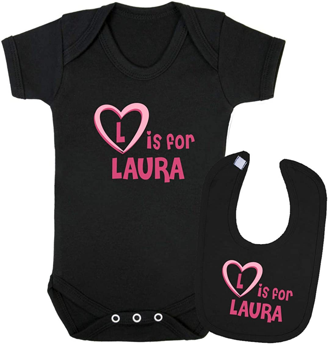 Vest and Bib L is for Laura Baby Gift Set