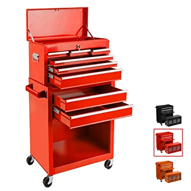 Removable Tool Chest Large Capacity Tool Box 4-Wheel Rolling Tool Cabinet Single Handle Lockable 2 in 1 Detachable Tool Storage Cabinet,Red