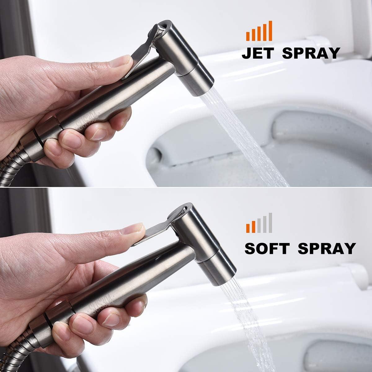 Pet Shower Water Sprayer Seat Bidet Attachment Bathroom Stainless Steel Spray for Personal Hygiene Cloth Diaper Cleaning JAKAGO Handheld Bidet Toilet Sprayer Kit Bidet Sprayer for Toilet