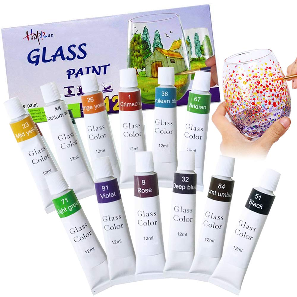 Happlee 12 Colors Glass Paint Non-Toxic Transparent Glass Painting Supplies for Glass, Porcelain, Window, Stone, Vibrant Colors Set (0.41 fl.oz) Happlee Art