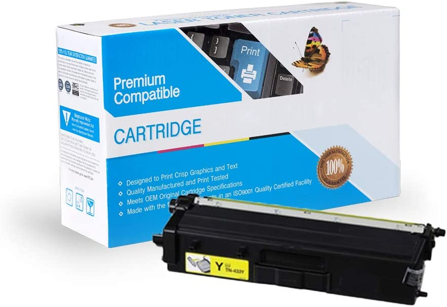 InkSurf Compatible Toner Replacement for Brother TN433Y Yellow L8900CDWHigh Yield L8360CDW Works with: HL L8260CDW L8360CDWT; MFC L8610CDW
