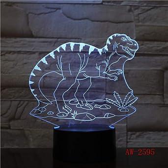 Regalo para niños Dinosaurio de baloncesto 3D luz visual nocturna ...