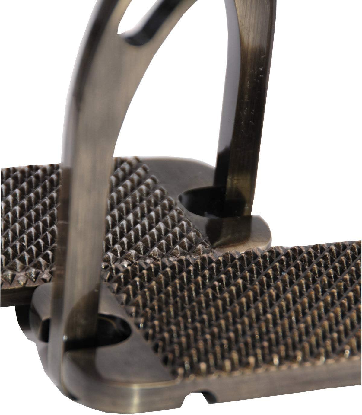Reitsport Amesbichler AMKA - Estribo de aluminio con superficie ancha, color marrón y titanio: Amazon.es: Productos para mascotas