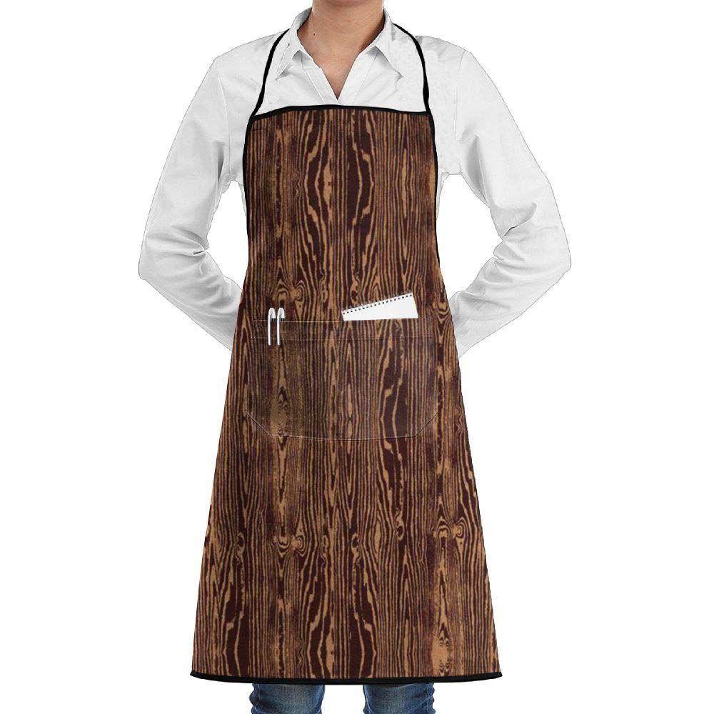 ZXC3asV Woodgrain Bark Adjustable Chef Apron-Cooking Kitchen Restaurant Aprons for Men Women