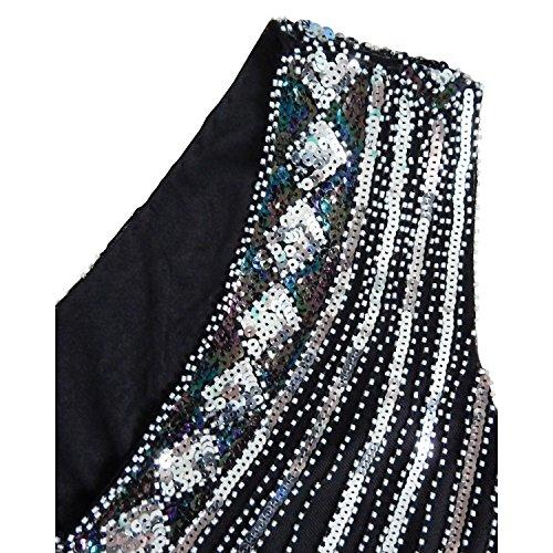 AIURBAG con vestido de asimétrico columna V cóctel de poliéster lentejuelas en cuello fiesta Vaina m 7Sqrvn1w7