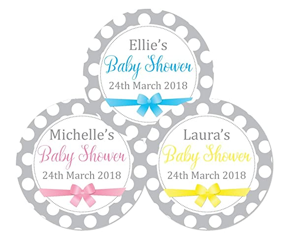 Personalised baby shower stickers grey and white polka dots and ribbon design stickers are
