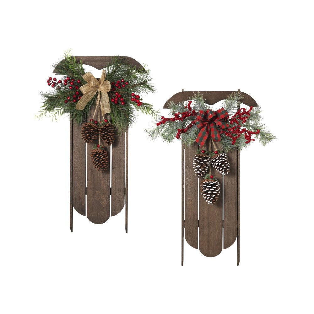 Gerson Set of 2 29InH Wood Hanging Sleighs