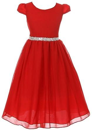 c89d094fa40d1 Little Girls Dress Short Sleeve Chiffon Rhinestone Belt Holiday Party  Flower Girl Dress Red Size 2