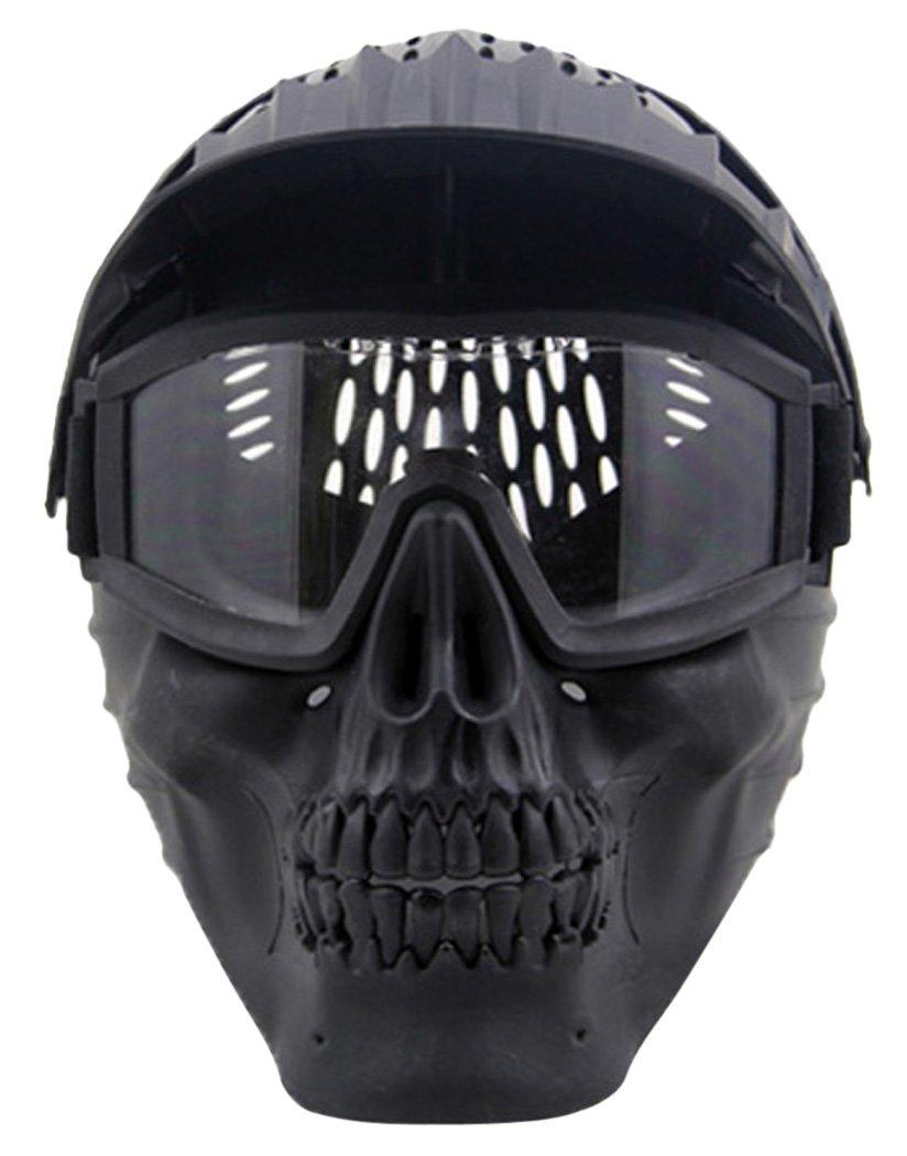 Máscara de Airsoft,OUTGEEK máscaras tácticas de la máscara del traje de Halloween Máscara del esqueleto del cráneo de las máscaras para los adultos (negro)