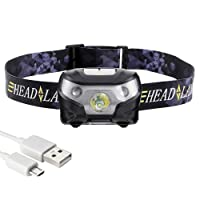 Gyvazla LED Headlamp USB Rechargeable Head Torch 5 Modes Headlight Waterproof Flashlight for Camping Hunting Hiking Running Walking Cycling Outdoors Light