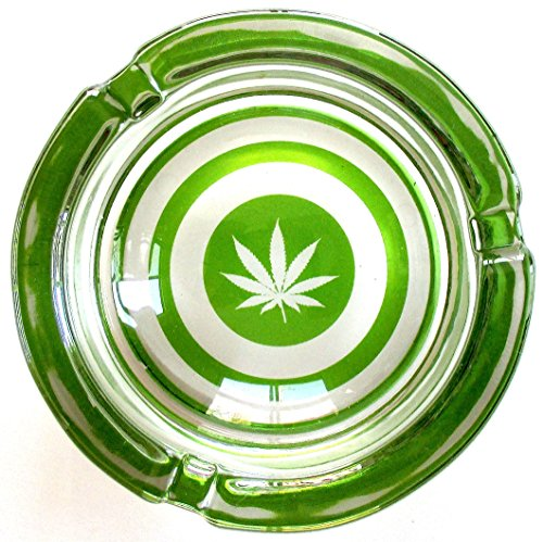 Marijuana Weed Bullseye Round Glass Ashtray