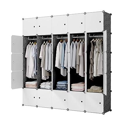 . KOUSI Portable Closet Wardrobe Closet Clothes Closet Bedroom Armoire  Storage Organizer with Doors  Spacious   Sturdy  Extra Space   Durable  Black  10