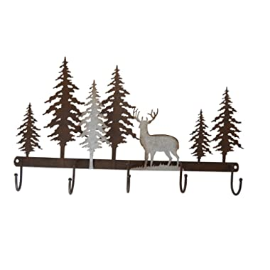 Pine Ridge Metal Wall Art with 5 Hanging Hooks 3-D Deer Scene Home Decor - Western Decorative Heavy Duty Wall Mount Hooks for Entry Way, Kitchen, Toilet and Bathroom