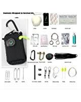Yan's Ultimate 28 Pcs Grenade Shaped Paracord Carabiner Survival Kits with 10.5 Meters Paracord Rope and all Emergency Tools