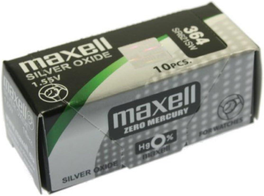 MAXELL SR621SW - 364 - Pila de Óxido de Plata 1.55V: Amazon.es: Electrónica