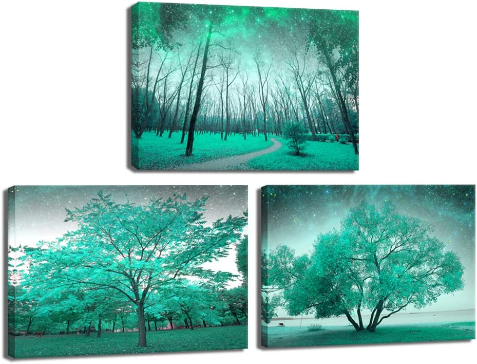 LevvArts 3 Piece Canvas Prints Wall Art Teal Green Tree Forest Picture Wall Decor Modern Landscape Painting Giclee Artwork for Living Room Bedroom Home Office Decor Framed Ready to Hang