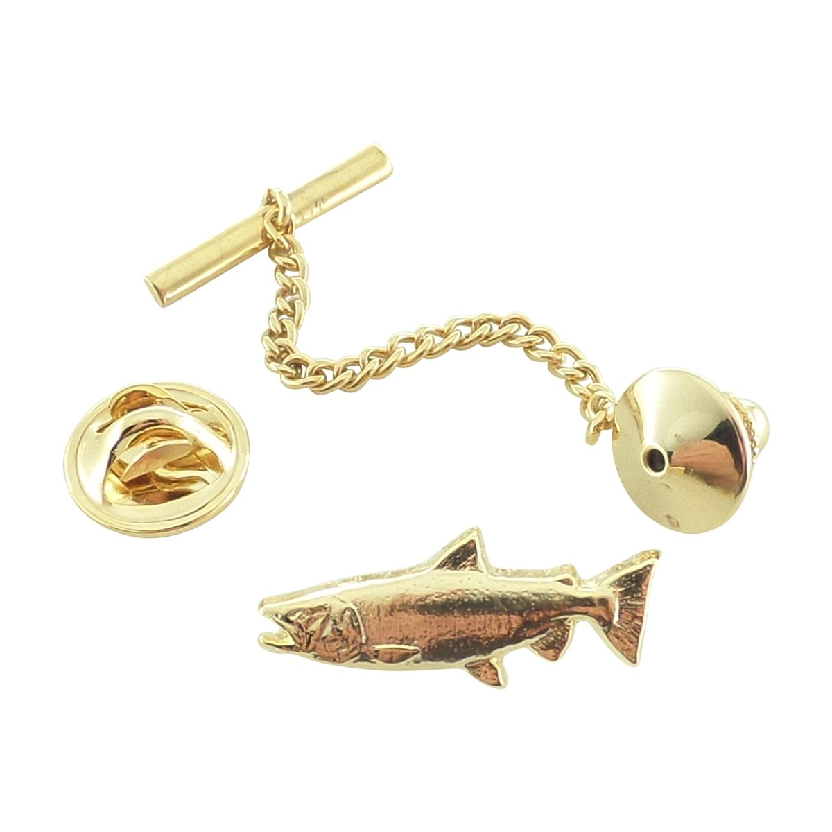 Creative Pewter Designs, Pewter King Salmon Tie Tack, Gold Plated, FG040TT