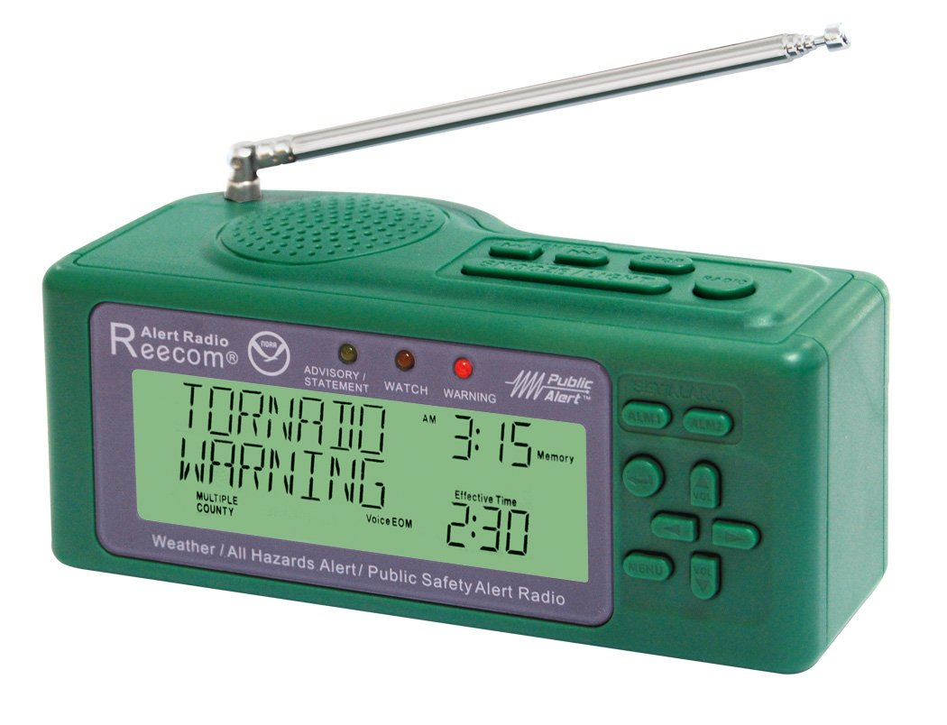 Unique Simultaneously Watch Multiple Channel Alerts (in Standby) with EOM Detection, Reecom R-200 Same NOAA Weather Alert Radio (Green)