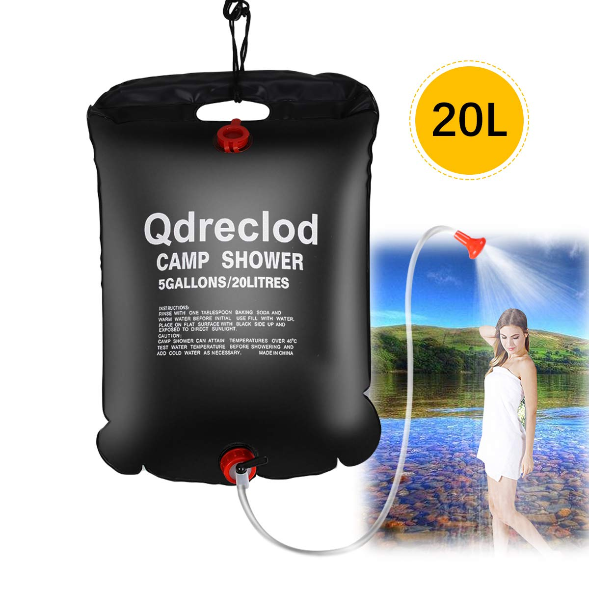 20L Portable Solar Heated Shower Water Bag Bathing Bag Outdoor Camping Hiking