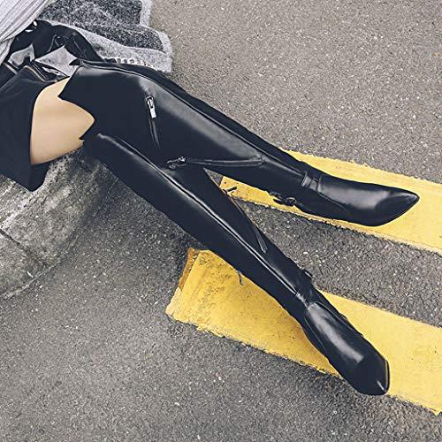 Rodilla De Mujer Lateral Plataforma Altas Moda La Sobre Cómodos Puntiagudas Impermeable Tacón Antideslizantes Alto Cremallera Muslo Botas Zapatos Black Para Elásticas Fcxbq wXxq5pUg5