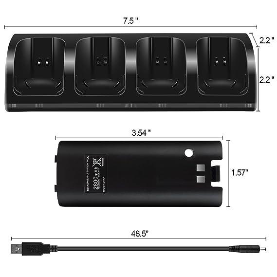 Cargador para mandos Wii C9, con 4 pilas y luz LED, para Wii ...