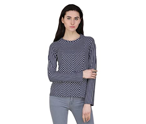 8cd7f6d22ddee7 FU2M Women Casual Basic Round-Neck Long Sleeve Blue/White Striped T-Shirt