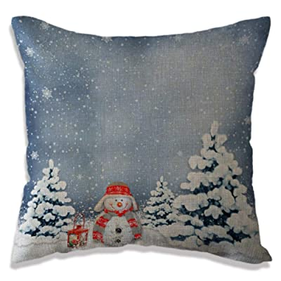 OUYAWEI Christams Pillow Case Chshion Cover Snowman Small Bell Christams Tree Pattern Pillow Case Christams Decoration B1896 4545cm: Home & Kitchen