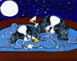 Japanese Chin Dogs in Hot Tub Signed Art Print of Original Painting