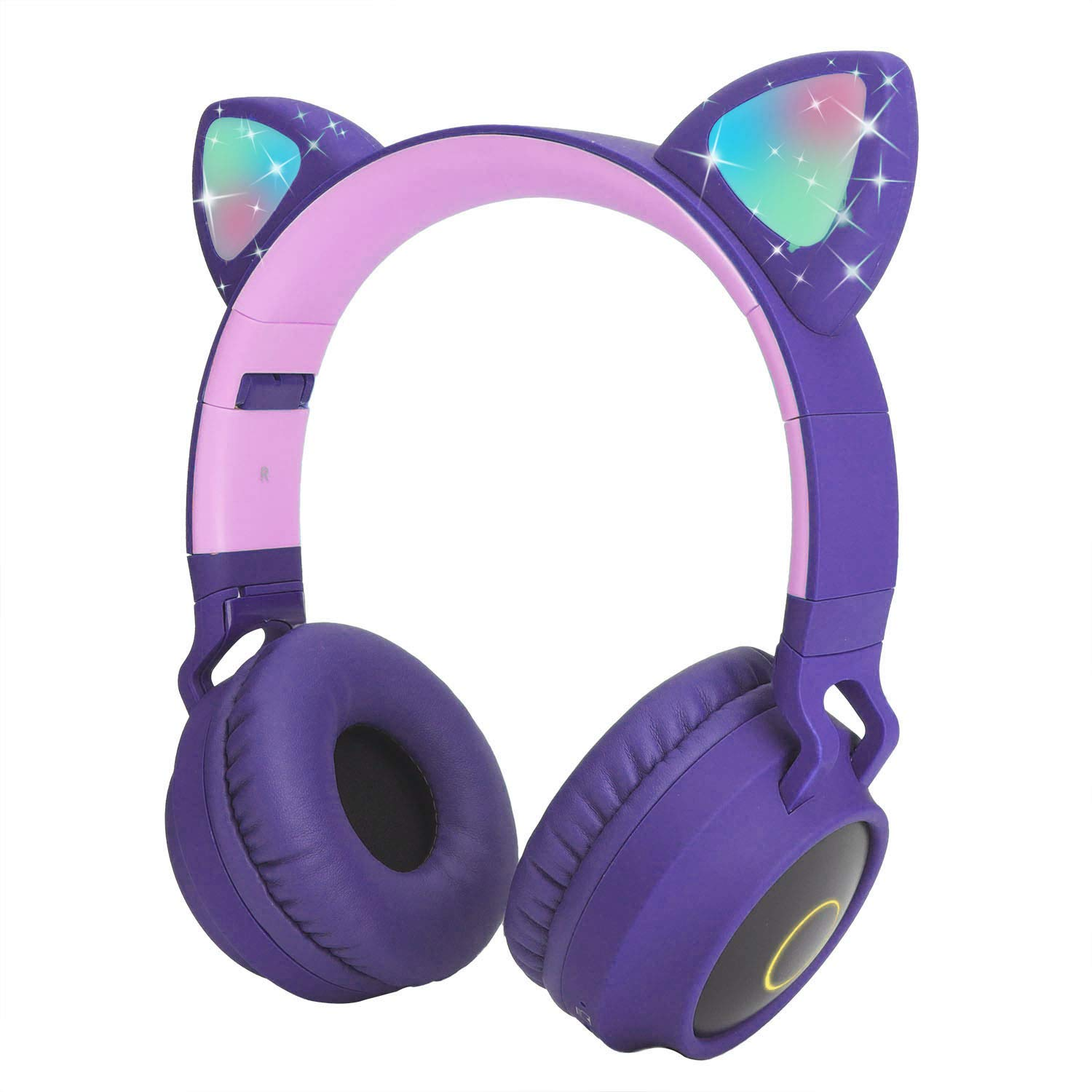 Kids Wireless Headphones Cat Ear Bluetooth Headphones with Flashing Led Light, SD Card Slot, FM,3.5 mm Audio Jack Wired Kids On Ear Headphones for Boys Girls Adults Purple